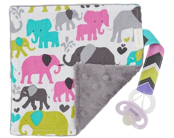Pacifier Blanket,  Binky Blanket, Pacifier leash, Pacifier Lovey, Minky Blanket, Elephant Baby Blanket, Minky Baby Blanket, Baby Girl Gifts