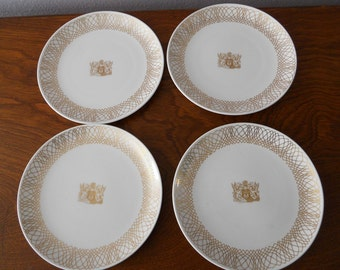 BOAC/British Overseas Airways Corp Set of 4 Airline Frist Class Spode-Copeland China Plates