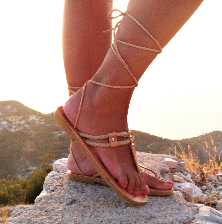 sandales en cuir gladiateur grecques lacets en cuir