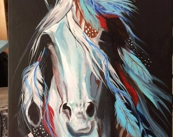 War pony native american art wild west ghost horse turquoise paint