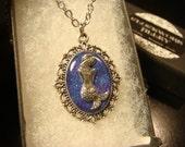 Small Mermaid Necklace - Blue / Purple Glitter Background (2064)