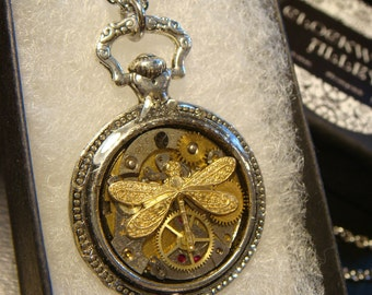 Clockwork Dragonfly Steampunk Pocket Watch Pendant Necklace -Made with Real Watch Parts (1989)