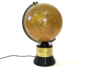 Vintage World Globe WW2 c1945 Regency Styled Illuminated Glass Crams with Bakelite Base
