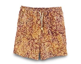 Casual Mens Shorts, Boho Batik Shorts, Casual Boho Festivalwear, Mens Casual Shorts, Pull-on Shorts Batik