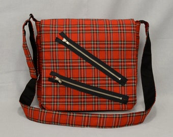 Punk Red Plaid Medium Size Messenger Bag, Bondage Pants Style with Zippers, Tablet and Phone Pockets