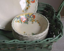 Vintage Fruit Nappies | Set of 6 Grindley Dessert Bowls | 1940s Art Deco China | Mix & Match China | Cottage Chic Farmhouse Decor