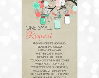 Mason Jar Bring A Book Insert Card Instead Of A Card One Small Request Book Request Instant Baby Shower Insert Download DIY Insert PDF (#16)
