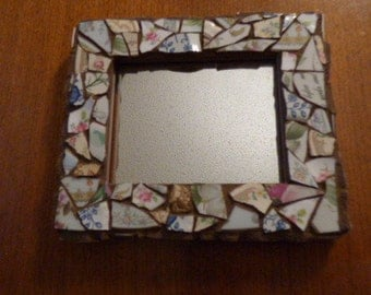 Mirror- Sweet, Small, Handmade With Old Glass Plates