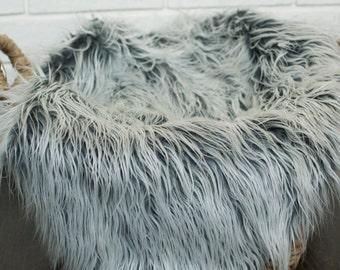 "Fur Photo Prop Layer - Mongolian 21"" x 22"" Gray Shades Faux Fur Photo Prop Layer"