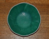 Two Vintage Chinese Green Peony Flowers Porcelain Bowl