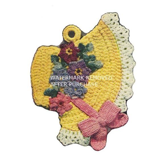 Easter Pot Holders Crochet: Vintage Crochet Easter Bonnet Pot Holder Reproduction Pattern