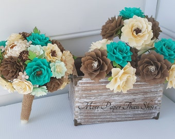 Paper Bouquet - Paper Flowers - Wedding Bouquet - Bride or Bridemaid - Rustic Teal - Customize Your Colors - Made To Order
