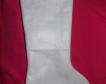 """Handmade 13"""" white felt Chritsmas stocking for decorating - xws"""