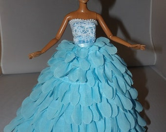 Red Carpet Collection Formals - Bright blue Chiffon petal formal dress with Tulle slip for Fashion Dolls - ed77822