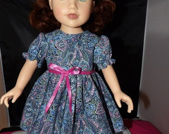 Blue paisley foral full dress with poofy sleeves for 18 inch Dolls - ag254