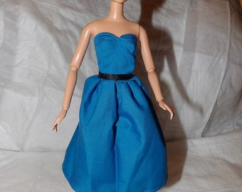 Teal blue strapless dress for Fashion Dolls - ed854