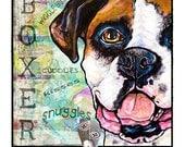 Pop Art Boxer Leash Hook Dog lover gift pet home decor dog leash holder