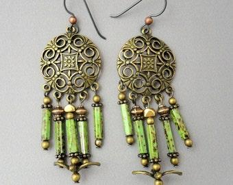 Boho Earrings, Hippie, Tribal, Long Dangles, Green Earrings, Brass Earrings, Emerald City Art Glass, Marcie Page, Artisan earrings