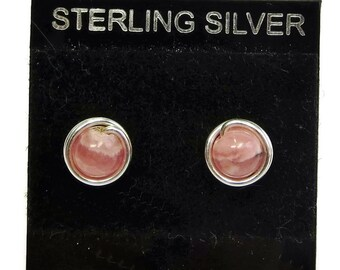 Natural Rhodochrosite and Sterling Silver Wire-Wrapped Stud Post Earrings