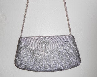 Vintage 1970s DELILL silver beaded crossbody formal bag