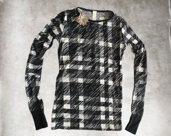 Top black abstract gingham/Removable clip brooch/Extra long scrunch knit top