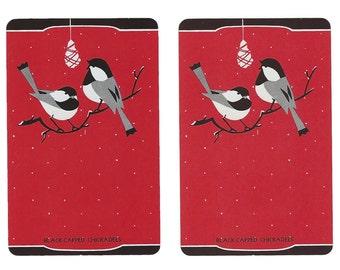 Black-Capped CHICKADEES (2) Vintage Single Swap Playing Cards Paper Ephemera Scrapbook