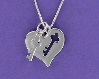 Sterling Silver Heart with Key and Cutout Key Pendant on Card with Inspirational Quote