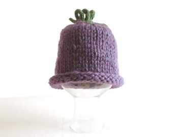 Grape Eggplant Plum Hat - Soft Hand Knit - Child size - Ready to Ship