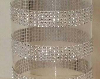 RHINESTONE GLASS Candle Stick Holder/Vase