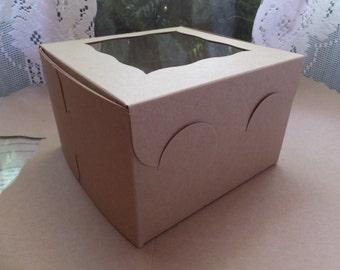 5 Pie Cupcake Cookies Cake Candy Kraft Brown Locking Tab Window Bakery Gift Box 6x6x4