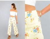 SUMMER SALE 70's Cropped FLORAL Bell Bottoms