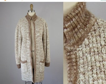 SALE 1980s Vintage Long Marled Sweater Jacket. 80s Brown Knit Cardigan (M, L)