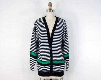 80s Vintage Black & White Striped Slouchy Cardigan (M)