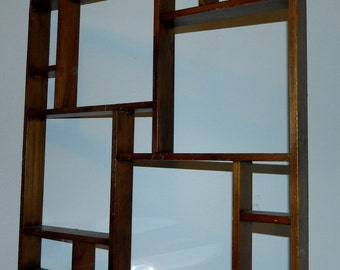 vintage 1950s shelf // wood shadowbox 50s Mid Century hanging display MCM decor