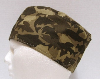 Mens Camouflage Scrub Hat, Skull Cap or Chemo Hat in a Fish Design