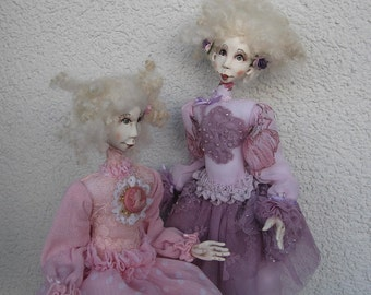 Leri and Keri  Art dolls- OOAK dolls- Paper clay dolls- Handmade dolls-Air dry clay dolls- Collecting doll