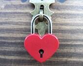 Ready To Ship - RED Mini HEART Padlock