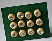 Vintage Rhinestone and Ecru Buttons for Sewing and Crafting