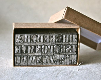 Vintage Letterpress Alphabet 30pt Winchell for Printing Stamping and Clay Stamping