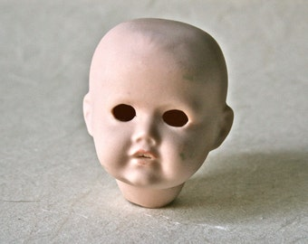 Small Porcelain Bisque Doll Head for Doll Making and Repair