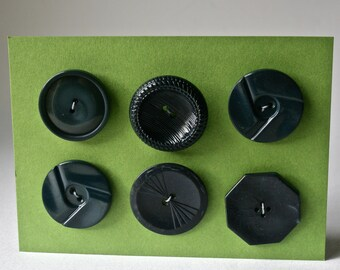 Six Large Vintage Coat Buttons in Dark Blues and Grays for Sewing and Crafts