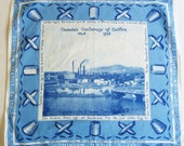 RESERVED for Sebastien - Vintage 1940s Souvenir Hankie - Canada Centenary of Cotton Handkerchief - 1945 - Dominion Textile Company