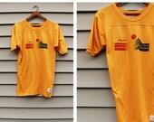 Vintage Vtg Vg 1970's 70's 1960's 60's ARIZONA Three Quarter Yellow Sunset Landscape Tee Shirt T-Shirt Hipster Retro Unisex Adults Small