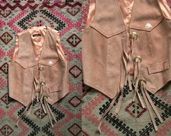 Vintage 90's Jordache Powder Pink Fringe Leather Western Vest / Motorcycle Women's Small