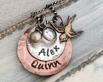 Personalized Hand Stamped Mixed Metals Mothers Necklace with Brass Sparrow Bird Charm ~
