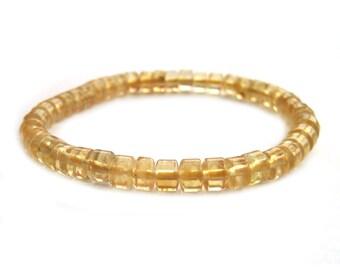 Fashion Yellow Crystal Quartz Beads Stretch Bracelet  T3328