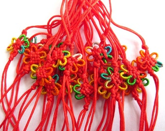 20Pieces Red Silk Cord Chinese Knot Hand Pieces  ja366