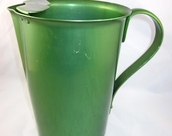 Green Aluminum Pitcher, Vintage, Table Service, Colorful, Party, Barware, Kitsch, Décor, Retro