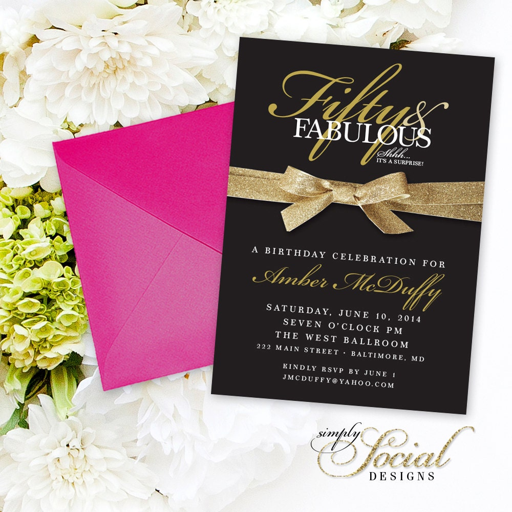 50th Birthday Invitation - Surprise Fifty and Fabulous 60th 50th ...