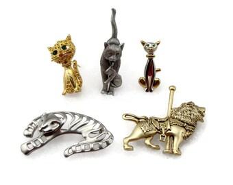 Cat Brooch Lot, Vintage Jewelry, Lion Tiger, Pin Lot, Vintage Brooch, Cat Kitten, Cat Pin, Gold Tone Brooch, Silver Tone Brooch, Brooch Pin